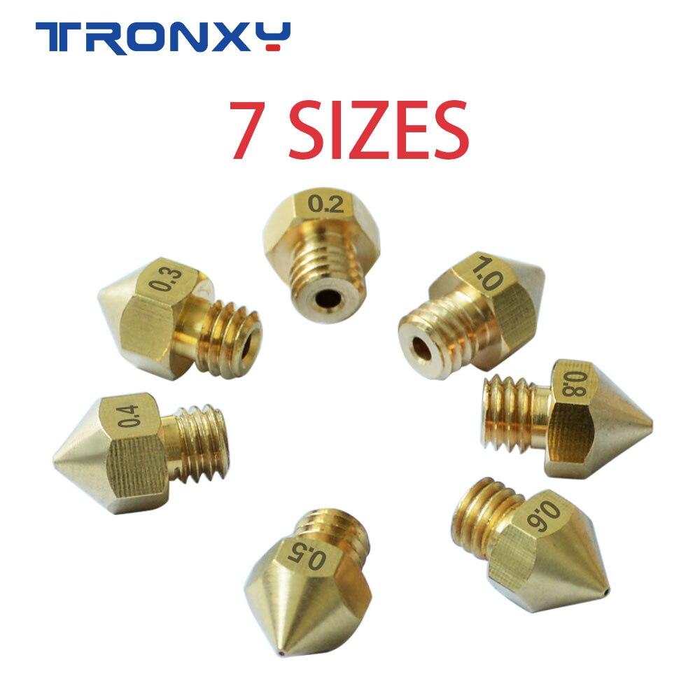 Tronxy 3D Printer Parts 7PCS MK8 M6 Nozzle 0.2/0.3/0.4/0.5/0.6/0.8/1.0mm J-head Extrusion 1.75mm Filament Copper Nozzles