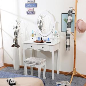 Nordic Heart-shaped Dresser For Bedroom Dressing Table 75×40×138cm Modern Single Mini Dressing Table With Mirror Bedroom HWC