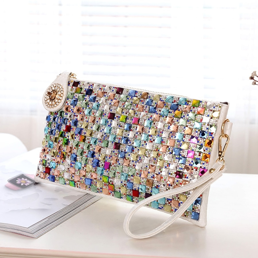 Colorful Rhinestone Women Clutch Bag Designer Luxury Diamond Ladies Evening Bag Chic Shoulder Crossb