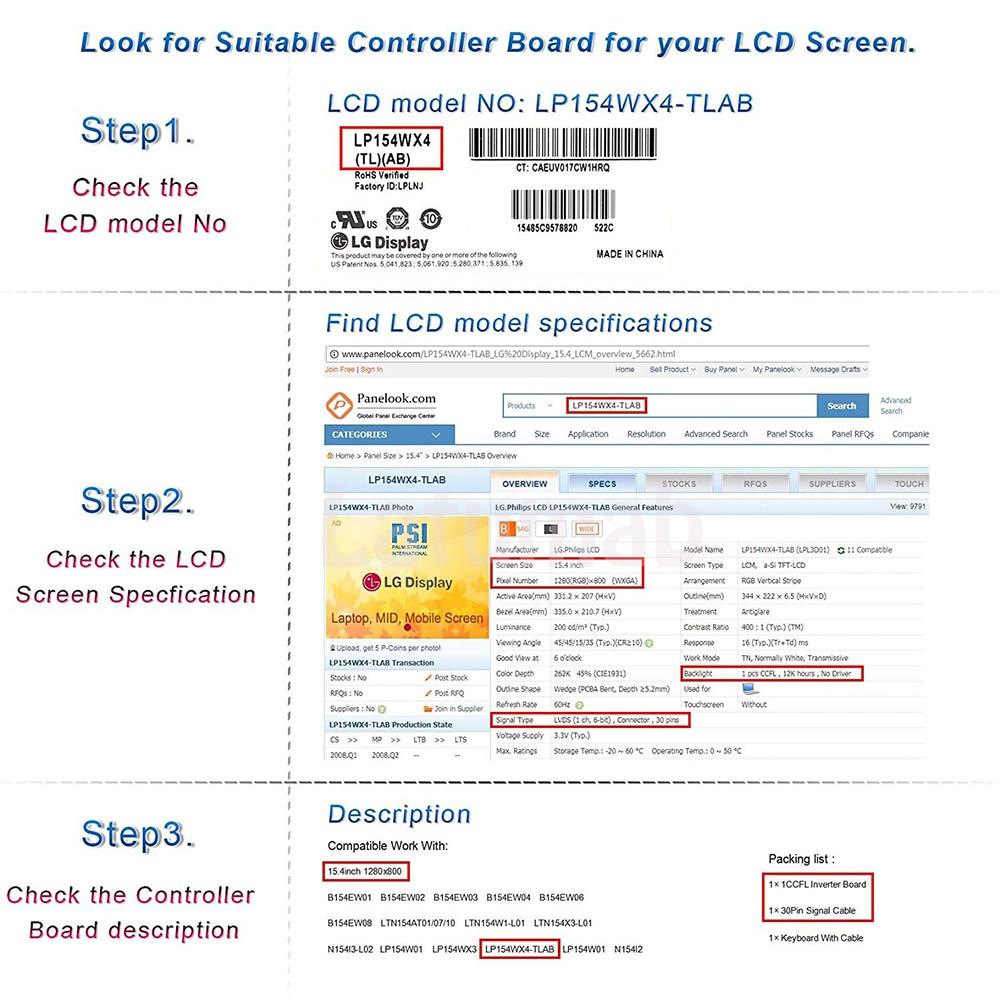Latumab New Kit for CLAA154WB05AN ( HDMI+DVI+VGA ) LCD Screen Controller Board NT68676 Free shipping