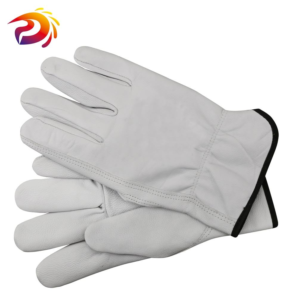 Cheap / Durable Goatskin Leather Work Gloves For Wood Working / General Work / Welding /Gardenging