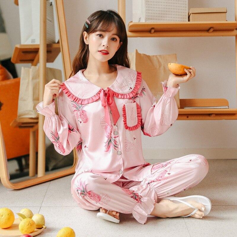 2020 primavera verão cetim de seda bonito sailor collar conjuntos de pijama para mulher manga longa impressão pijamas homewear mujer roupas