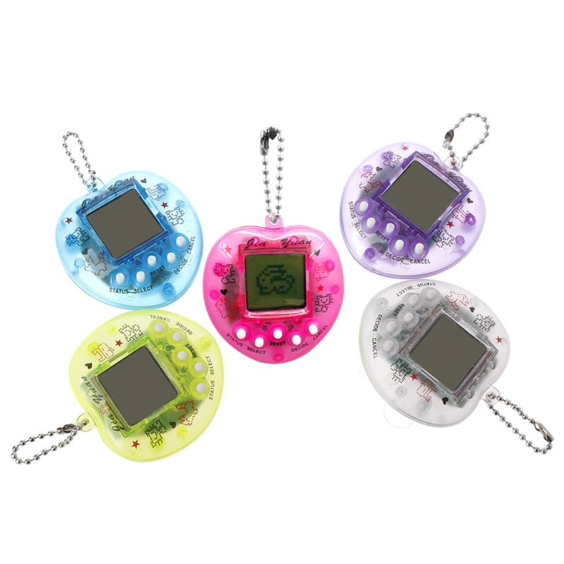 Linda forma de corazón LCD Virtual Digital Pet máquina de juego electrónico con llavero