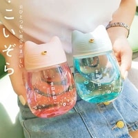 water cup cute creative cat design fashion trendy cool mini glass cup gradient color portable handy bottle japanese art style