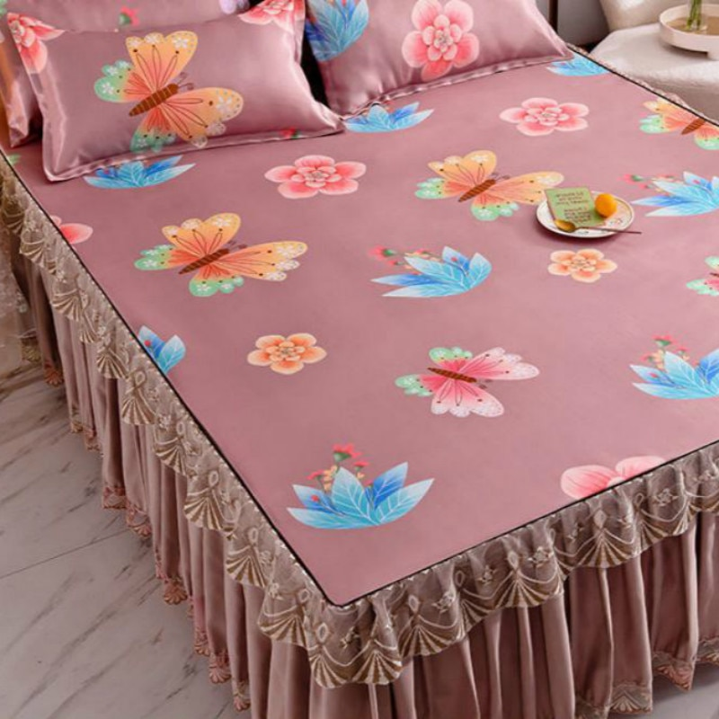 الصيف الجليد الحرير تنورة نوم الطباعة الأزهار غطاء سرير طقم سرير الملك/الملكة المفرش الدانتيل النسيج مع 2 قطعة سادات J8052
