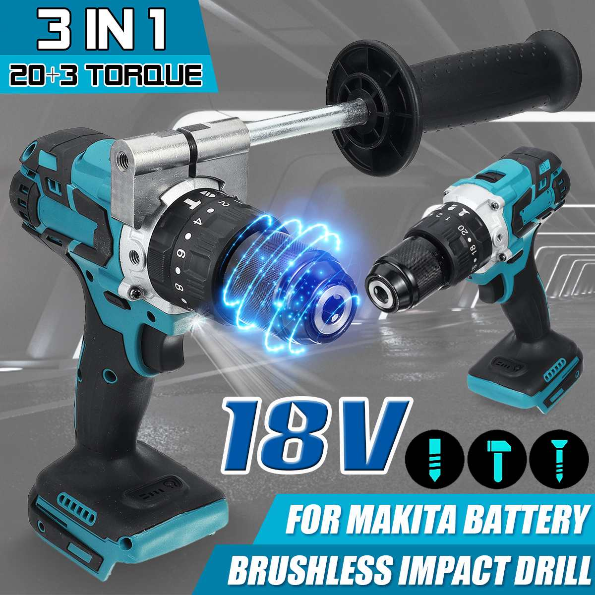 3 in 1 Brushless Electric Hammer Driver Drill with Handle 20+3 Torque Cordless Compact Impact Drill For Makita 18V Battery 3 in 1 13mm brushless electric hammer drill electric screwdriver 20 3 torque cordless impact drill for makita 18v battery