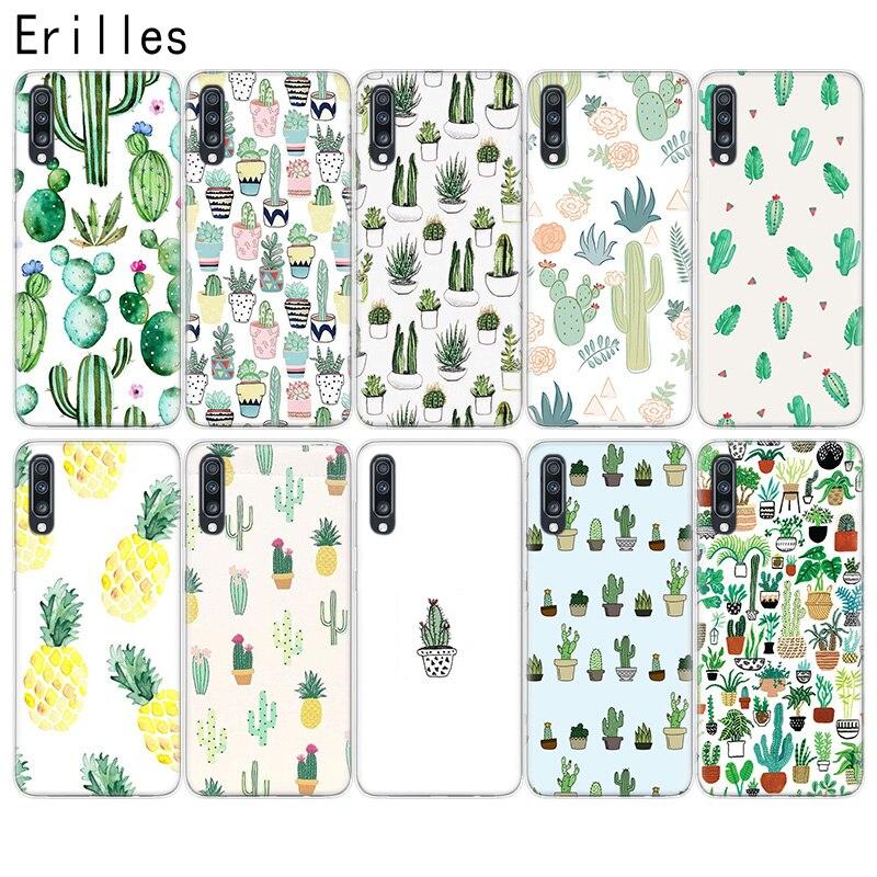 Erilles Phone Cover For Samsung M10 M20 M30 M40 A10 A20E A30 A40 A50 A60 A70 Case Soft A6 A7 A8 A9 +Plus Cactus Plants Coque
