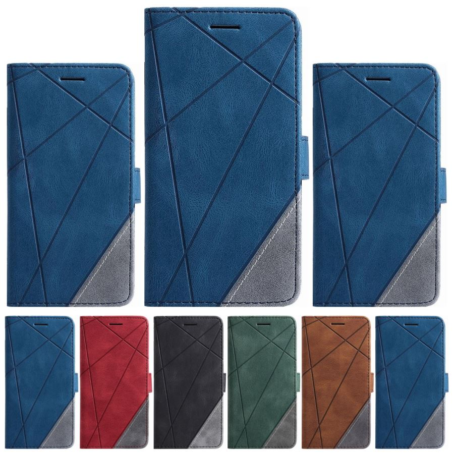 Funda de teléfono de estilo neutro para Samsung Galaxy S20 Ultra S10 Plus Note 10 Pro J600 J6 J8 2018, Funda de cuero rombo a rayas O21G
