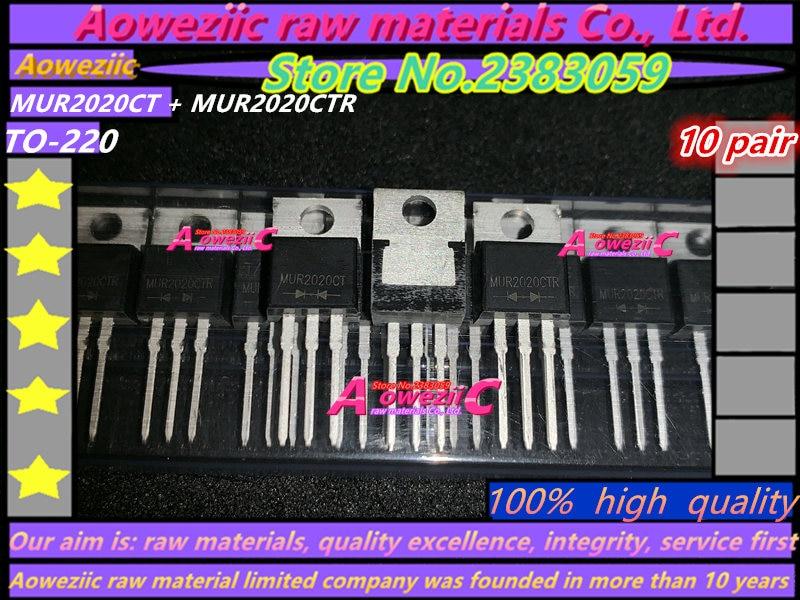 100% Aoweziic alta calidad cátodo común MUR2020CT ánodo común mur202020ctr a-220 diodo de recuperación rápida 20A/200 V