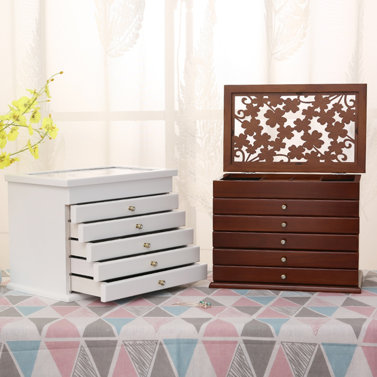 Multi-Layer Big 6 Layers Wooden Jewelry Box Jewelry Display Casket  Earrings Ring Boxes Jewelry Organizer Gift Box White/Brown
