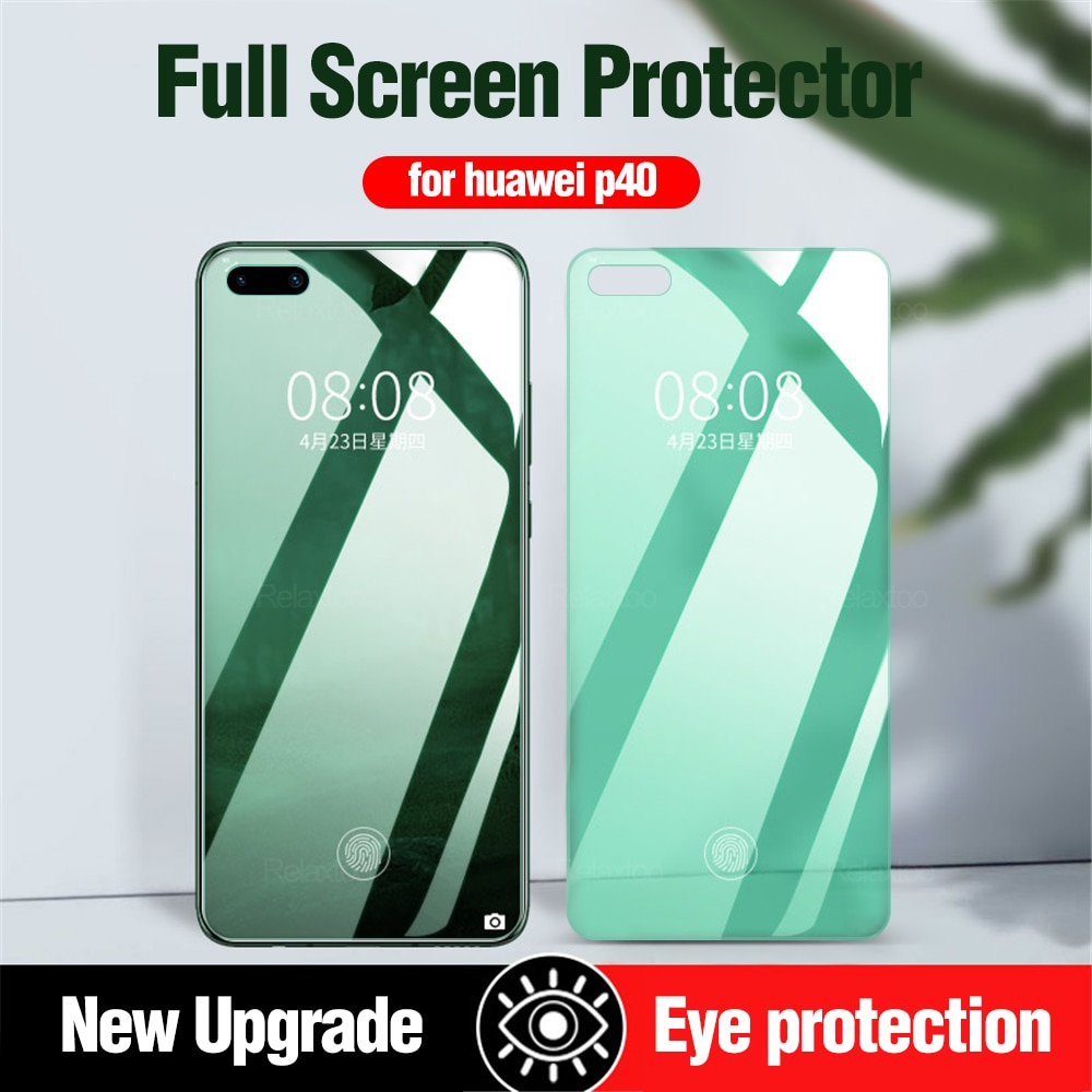 Vidrio anti-rayos verde para huawei p40lite e p 40 lite, funda protectora de pantalla templada antiradiación para huavei p 40 lite glas