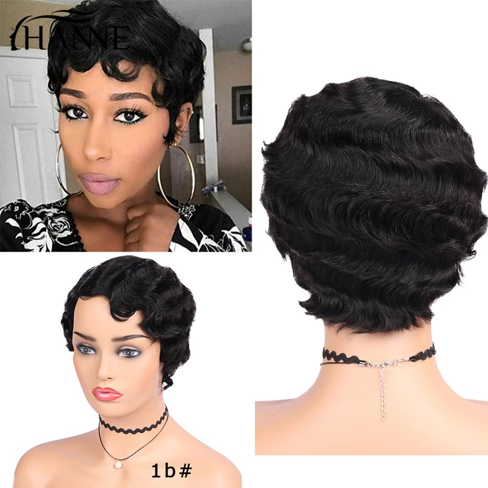 HANNE Brazilian Remy Wig Mommy Human Hair Wigs Short Finger Wave Wigs Ocean Wave Wig For Black/White Women 6 inches