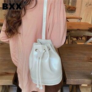 [BXX] Woman New Vintage Brief Drawstring Bucket PU Leather Personality All-match Crossbody Shoulder Bag Fashion Tide 2021 GF0260