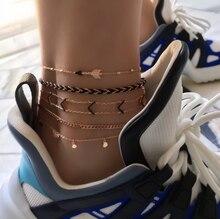 Charms 5pcs/sets Foot Chain Moon Elephant Arrow Barefoot Feet Bracelets Fashion Jewelry Womens Accessories