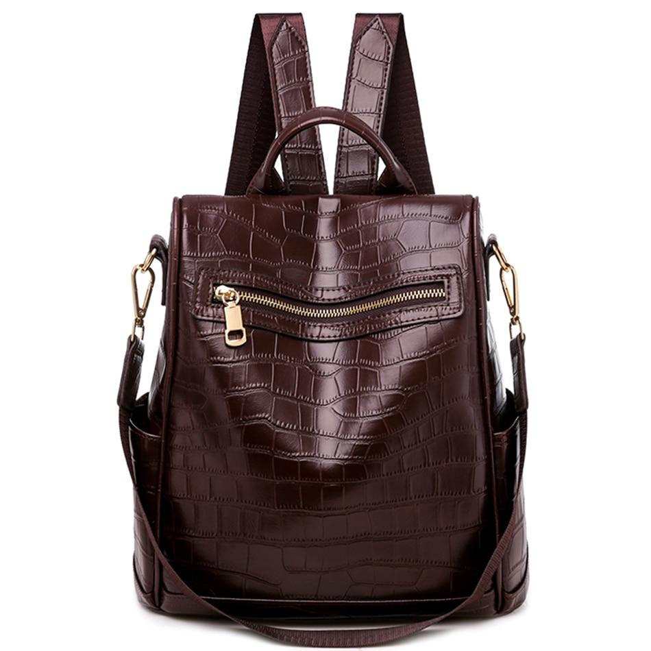 LONOOLISA-حقيبة ظهر بنمط تمساح للنساء ، حقيبة ظهر مدرسية ، حقيبة كتف متعددة الوظائف ، 2021