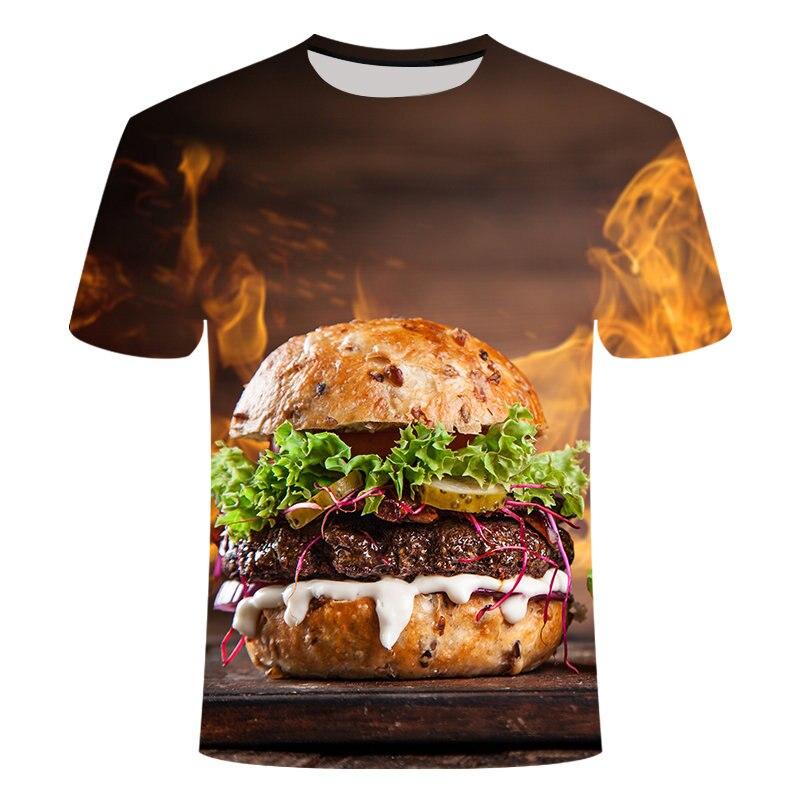 T-shirt Men 2019 New Hip Hop Fashion 3d Burger fries fast food loose Unisex Summer Tops Tees Loose t shirt menTops