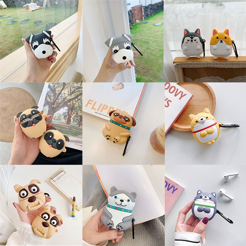 For AirPod 1 2 Case Cute Cartoon Pug Schnauzer Tiger Dog Corgi Siberian Huskiy Soft Silicone Cases For Airpods Case Cover Funda