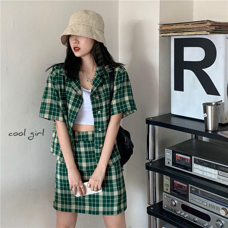 Coréia verão outfit vintage manga curta único breasted camisa de cintura alta a linha mini saia moda xadrez verde conjunto de duas peças