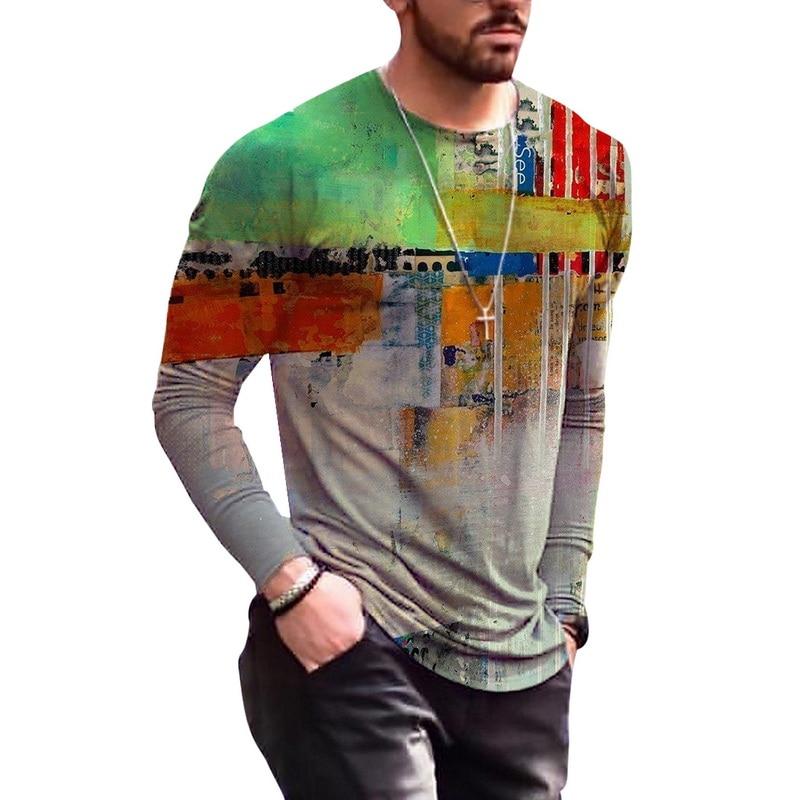 2021 Men T-Shirts Fitness Bodybuilding T Shirt High Street Spring Summer Long Sleeves Casual O-Neck Top Print T Shirt For Men pink plain round neck long sleeves tassel hem t shirts