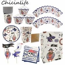 Chicinlife-assiettes papier Pirate   Serviettes de table sac en papier boîte à pop-corn décoration de gâteaux, emballages fournitures de fête danniversaire pour enfants