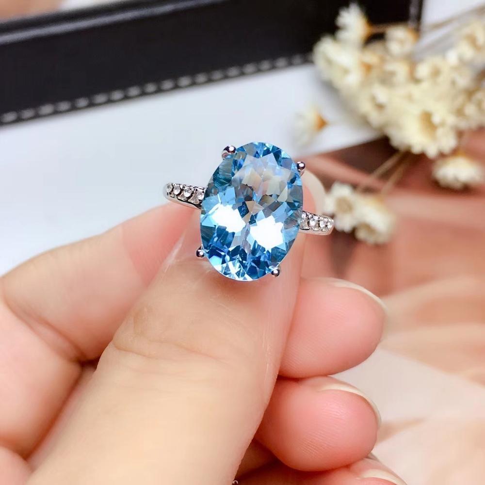 العصرية البساطة كبيرة جولة الطبيعية 10*14 مللي متر الأزرق توباز جوهرة خاتم الأحجار الكريمة الطبيعية حلقة S925 الفضة فتاة امرأة حزب مجوهرات
