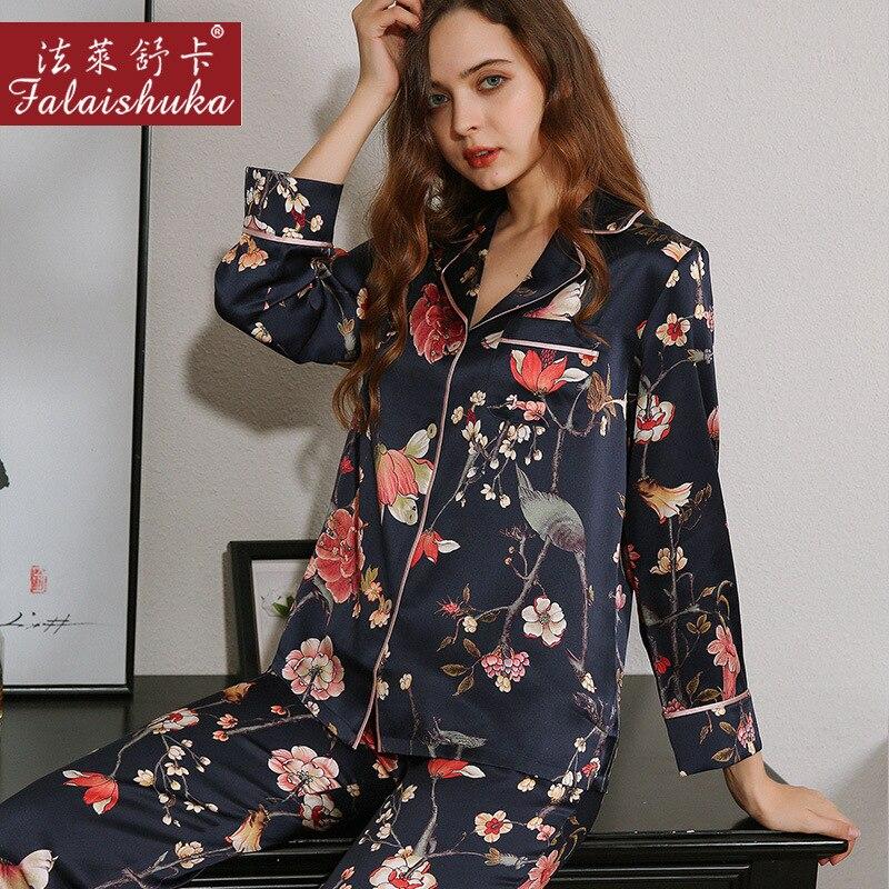 19 momme جديد حقيقي 100% بيجامة من الحرير مجموعات المرأة مثير الزهور السوداء الكورية أنيقة بسيطة ملابس خاصة الحرير المرأة بيجامة T8254
