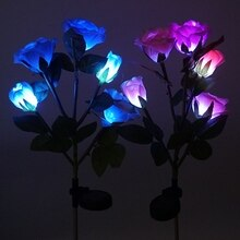 5 LED Solar Powered Outdoor Lawn Lamp Artificial Rose Flower Garden Stainless steel lights Courtyard Lights Landscape LampGM