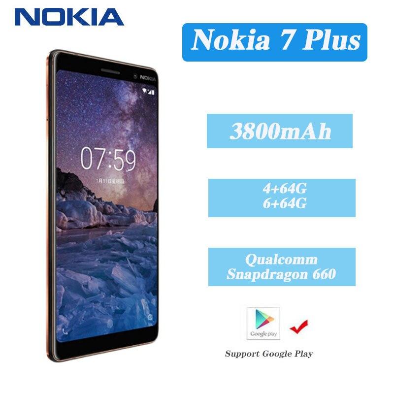 Перейти на Алиэкспресс и купить Оригинальный смартфон Nokia 7 plus, Android, полноэкранный, две SIM-карты, 4G, черный, 6 + 64 ГБ, телефон для пожилых людей, 7 plus, модный телефон