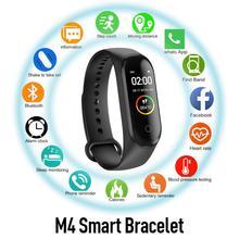 M4S Multifunctional Smart Bracelet Heart Rate Sleep Waterproof Sports Couple Watch Color Screen Blue