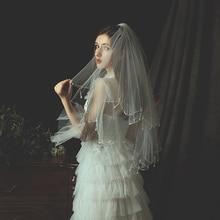 2 Layers Bridal Wedding Veil Tulle Whtie Ivory Short  Eldow Veil Pearls Crystal Edge with Comb Elegant Accessories veu de noiva
