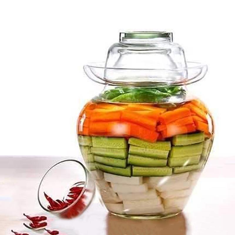 2500 مللي/5000 مللي الزجاج الشفاف كيمتشي جرة التقاليد الصينية مختومة التخليل الغذاء الحاويات مخلل الجرار مخلل خزان