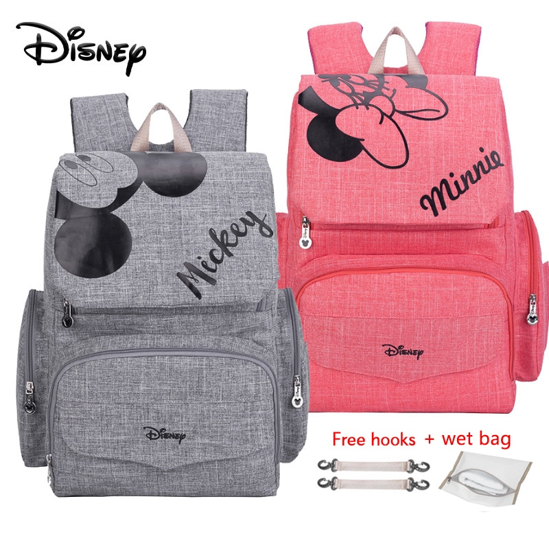 Disney 1Pair Free Hooks Mickey Baby Diaper Bags Bolso Maternal Stroller Bag Nappy Backpack Maternity Mommy