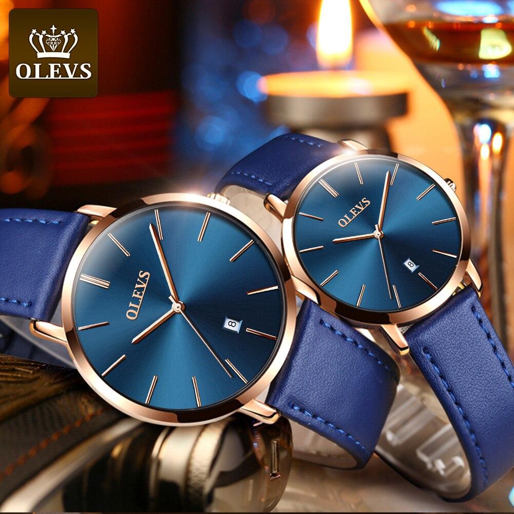 موضة ساعات الزوجين OLEVS شعبية عادية كوارتز النساء الرجال ساعة عاشق ساعة حائط هدية بنين بنات رقيقة جدا ساعة يد جلدية