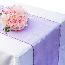 Camino de mesa de Organza de 30x275cm 1 Uds., cubierta para silla, lazo para fiesta de cumpleaños, banquete de boda, suministro de decoración para mesa