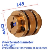 D34L45 Aluminum Shaft Coupling Flexible Coupler Double Flange Diaphragm Cardan Connector Keyway High Rigidity Elastic Stepped
