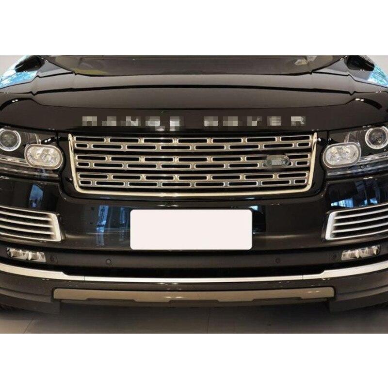 Cubierta de parachoques frontal plateada, rejilla central para Land Rover Range Rover Vogue 2014 2015 2016