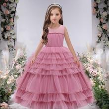 Summer Bridesmaid Ankle Length Kids Dresses For Girls Children Costume Princess Cake Tutu Dress Girl