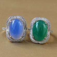 Livraison directe bague calcédoine bleue pour femme Agate verte naturelle oeuf argent S925 Jade anneau cadeau pour les beaux bijoux de la femme