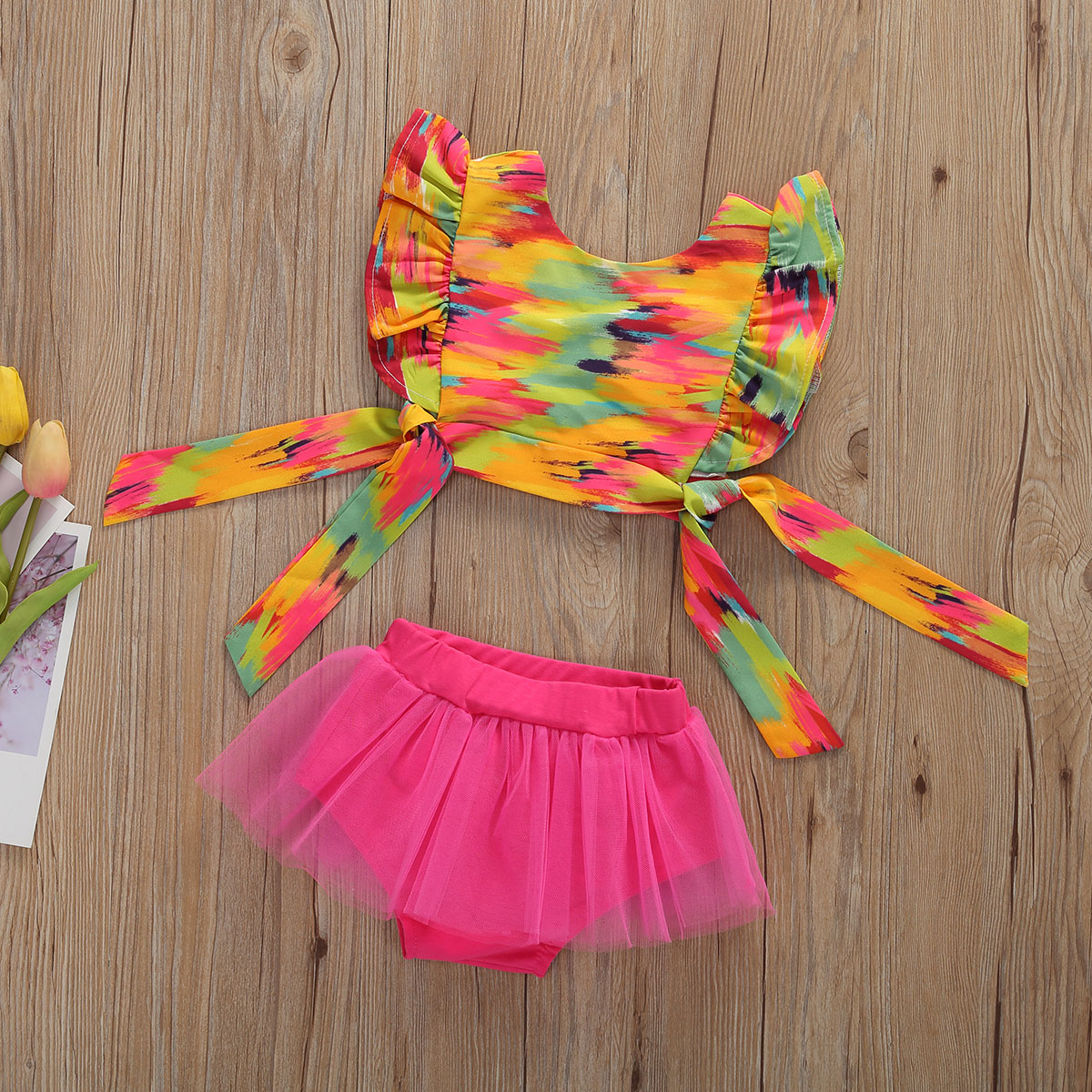 2020 New Fashion Summer Infant Girl Clothes Colorful Ruffle Trim Sleeve Bowknot Crop Tank + Mesh Shorts Sets 0-12 Months