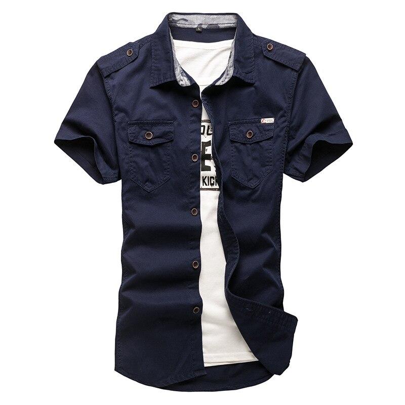 Camisa de carga de verano para hombre, camisetas de manga corta de algodón ajustadas 5XL, camisetas deportivas militares tácticas para exteriores
