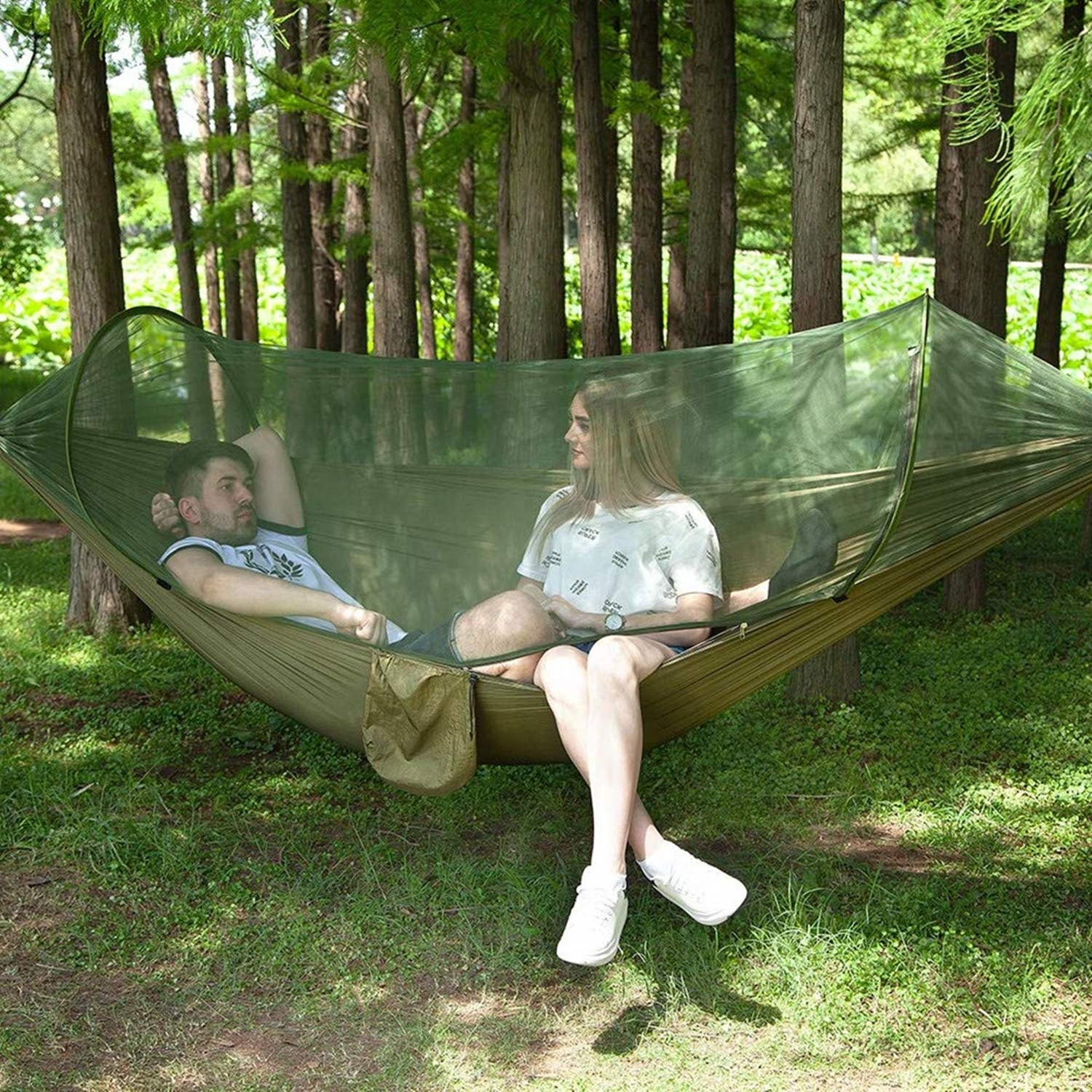 Yooap double camping hammock with mosquito net / insect net, light and durable travel hammock portable quick-drying