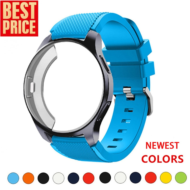 case for samsung galaxy watch 46mm 42mm strap tpu plated screen protector cover bumper s 3 42 46 mm gear s3 frontier band Silicone Case+band For Samsung Galaxy watch 46mm/42mm strap Gear S3 Frontier Band Sports watchband+Protector watch case 42/46 mm