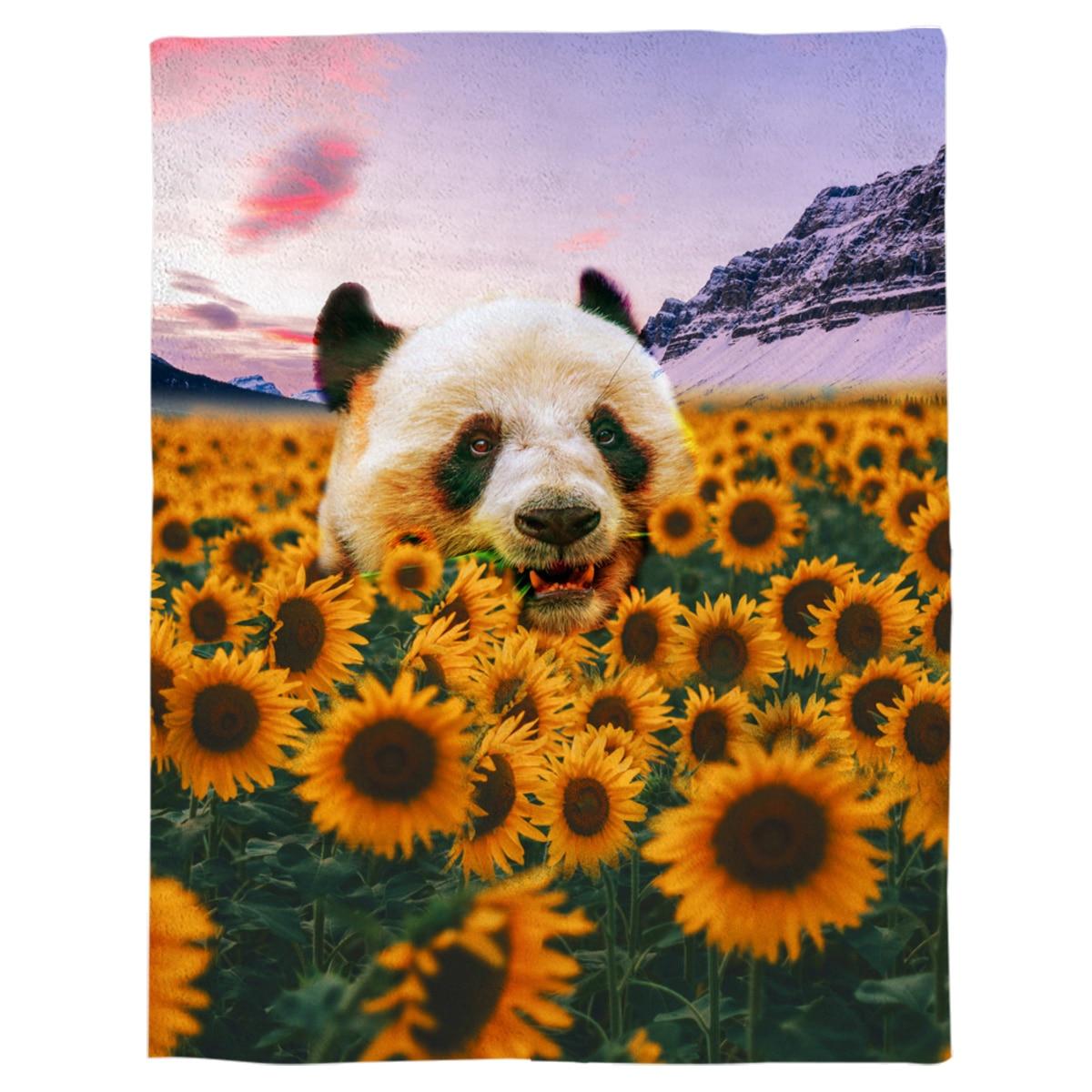 بطانية من الفلانيل بطبعة سماء جبلية ، بطبعة عباد الشمس والباندا ، للأسرة ، قابلة للغسل في الغسالة