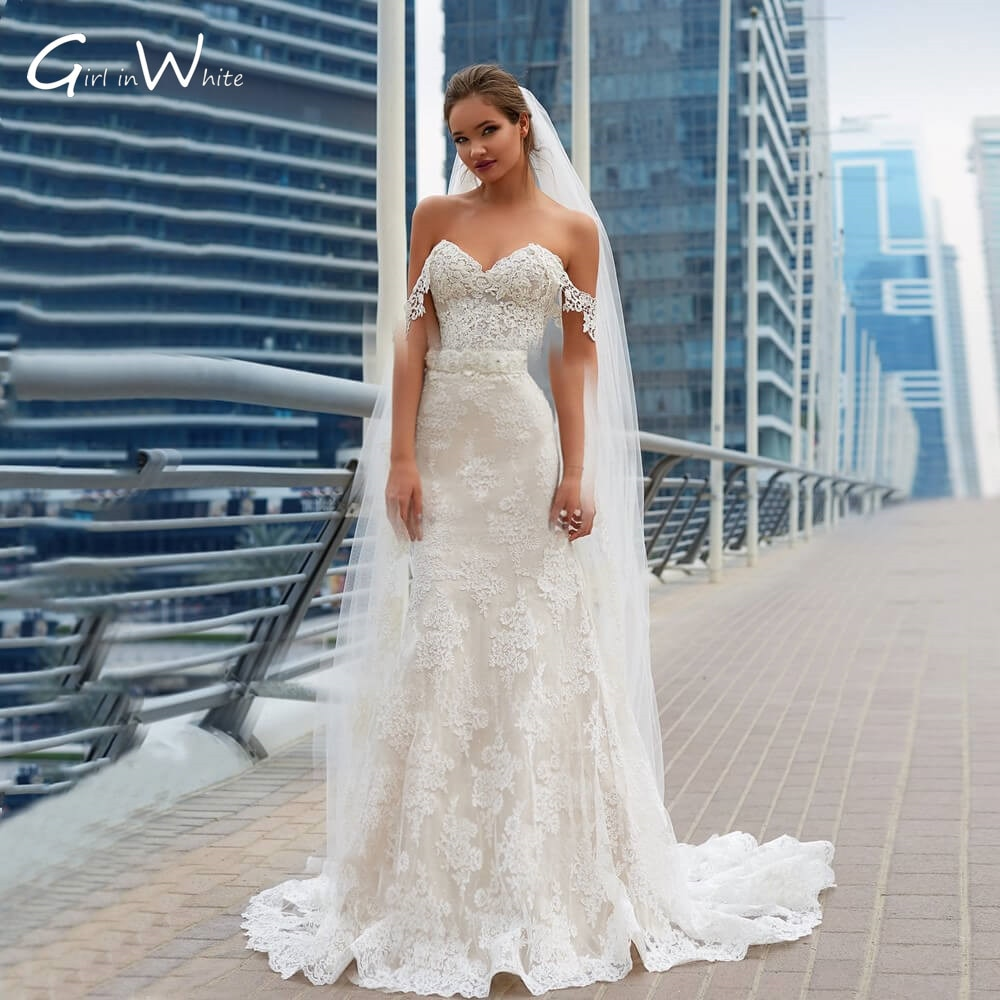 Off The Shoulder Lace Mermaid Wedding Dresses Lace Up Back Vestido De Novia Bridal Gowns Backless robe de mariée