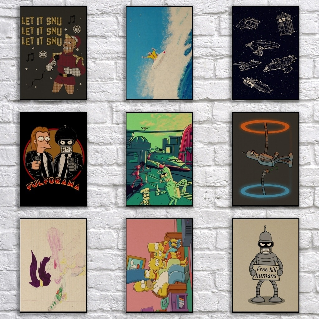 Comic Futurama cartel de papel Kraft pintura de dibujos animados divertido arte pegatina de pared para cafetería Bar