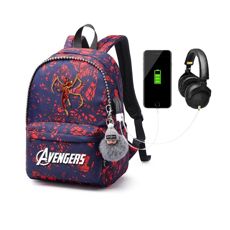 MARVEL USB Charging Backpack College Students School Package Oxford Cloth Waterproof School Bag Cartoon Anime Backpack Mochila