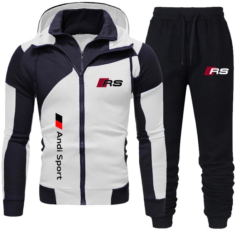 Новинка 2021, мужская спортивная одежда с капюшоном, костюм на двойной молнии, модная повседневная спортивная одежда, мужская куртка для бега ...