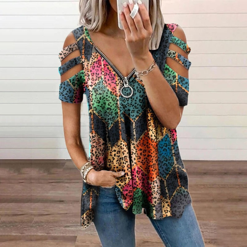 Летняя одежда с принтом на молнии с v-образной горловиной и топы с открытыми плечами с коротким рукавом Футболка повседневные свободные платья размера плюс пуловер винтажные женские рубашки