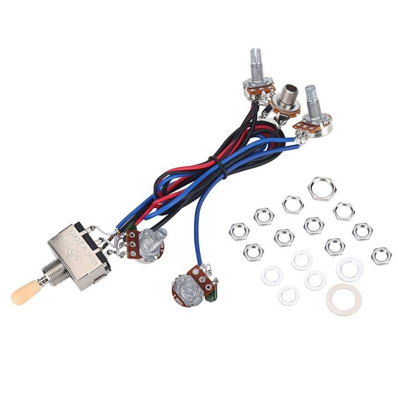Juego de arnés de cables de recogida de guitarra eléctrica Lp, 2T2V 500K Pots, interruptor de 3 vías con conector para Humbucker doble Gibson Les Pual Style Gu