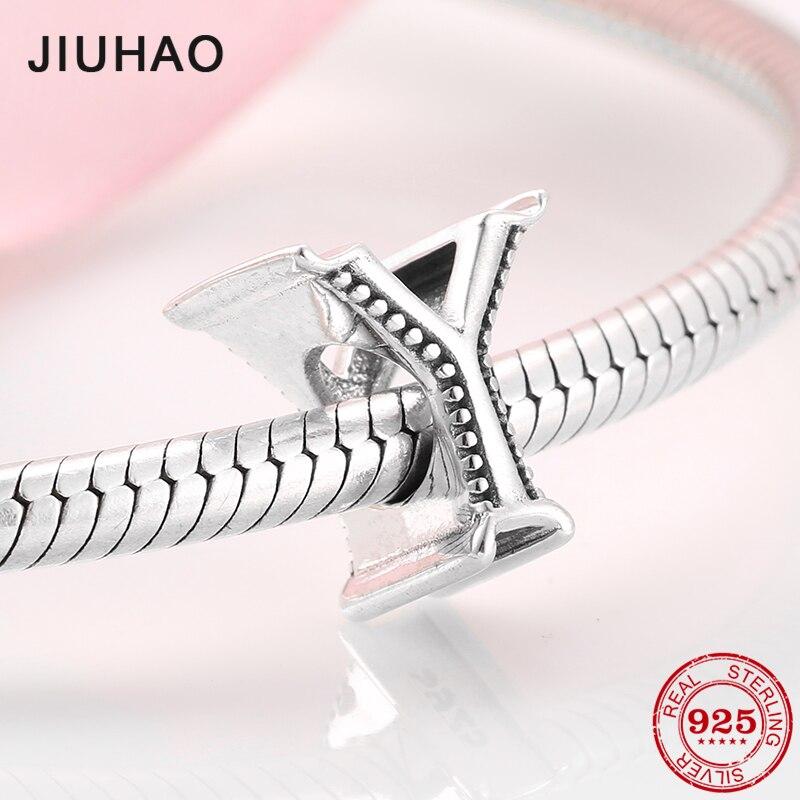 Pulsera de plata de ley 100% auténtica, Cuentas de letras Y alfabeto 925 compatible con la pulsera JIUHAO Original, accesorios DIY, joyería